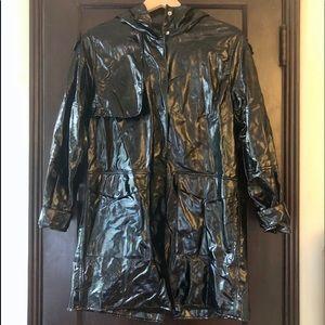 Zara vinyl black raincoat. Size S.
